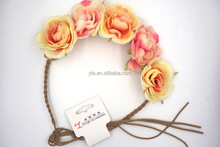 floral garland in suede cord strands with green LED light hair flashing for summer party