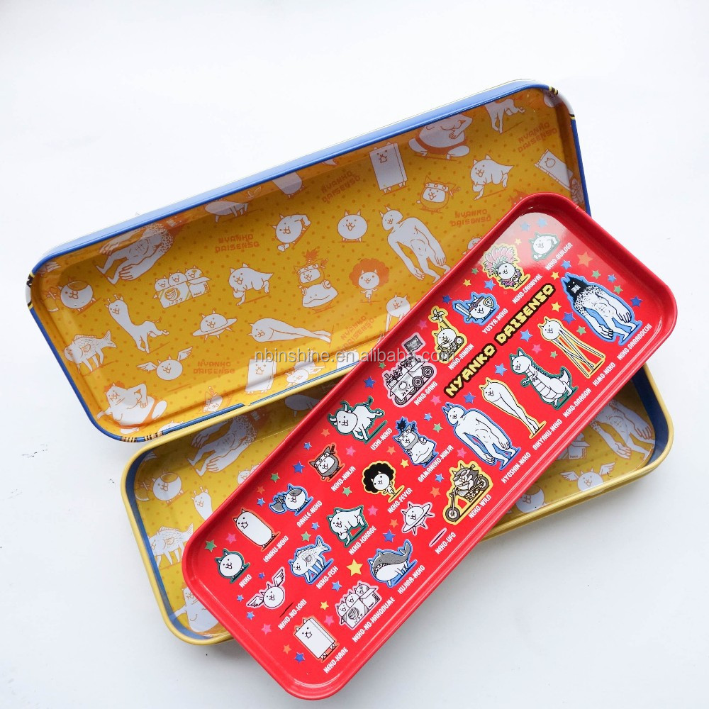 Custom printing double layer metal pencil case , fashionable double metal kids pencil case