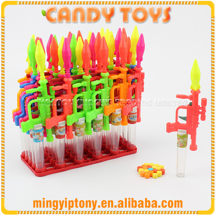 Confectionery products plastic missile gun shape toy candy on sale