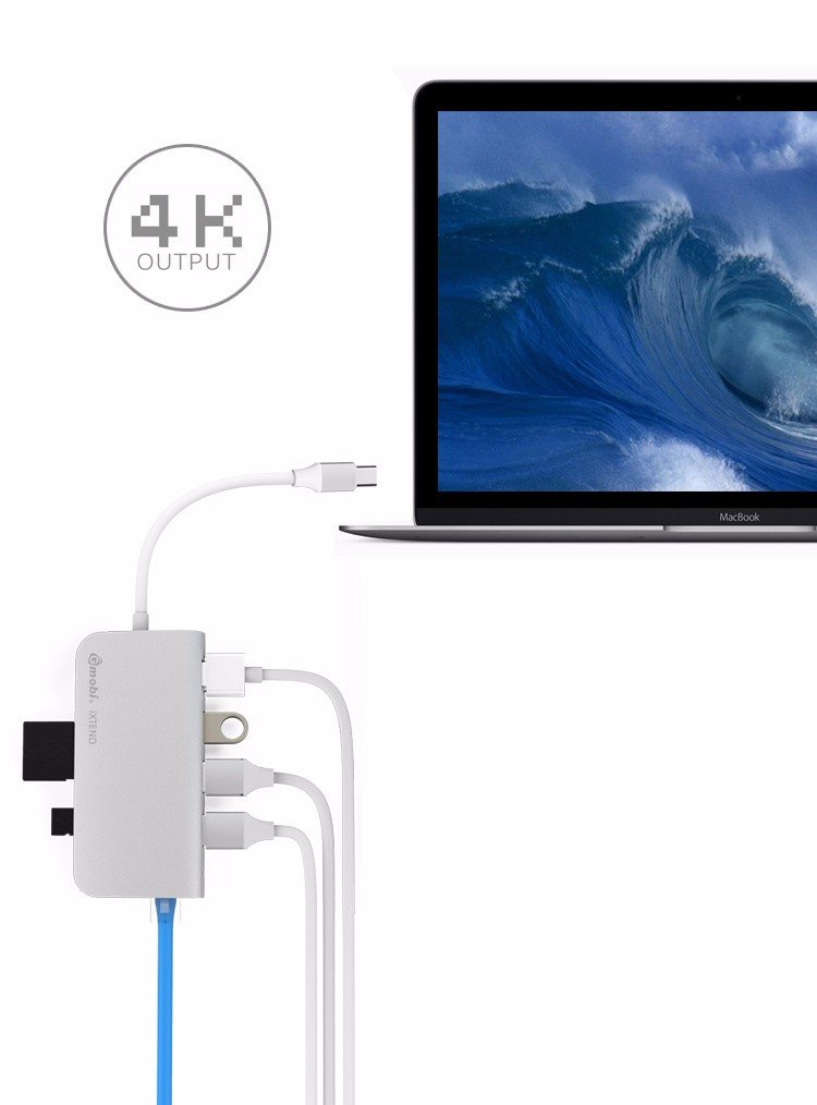 The World's Most Advanced Gmobi USB Type-C Power Adapter Hub with HDMI & RJ45 Functions For Mac