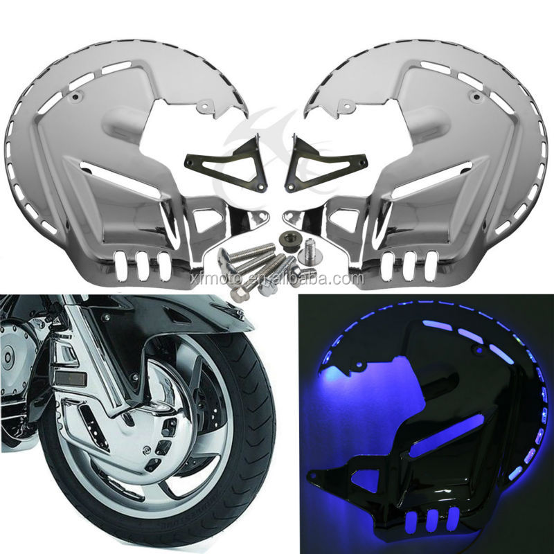 For Honda Gold wing GL1800 Chrome Front Brake Disc Covers + LED 2001-2011
