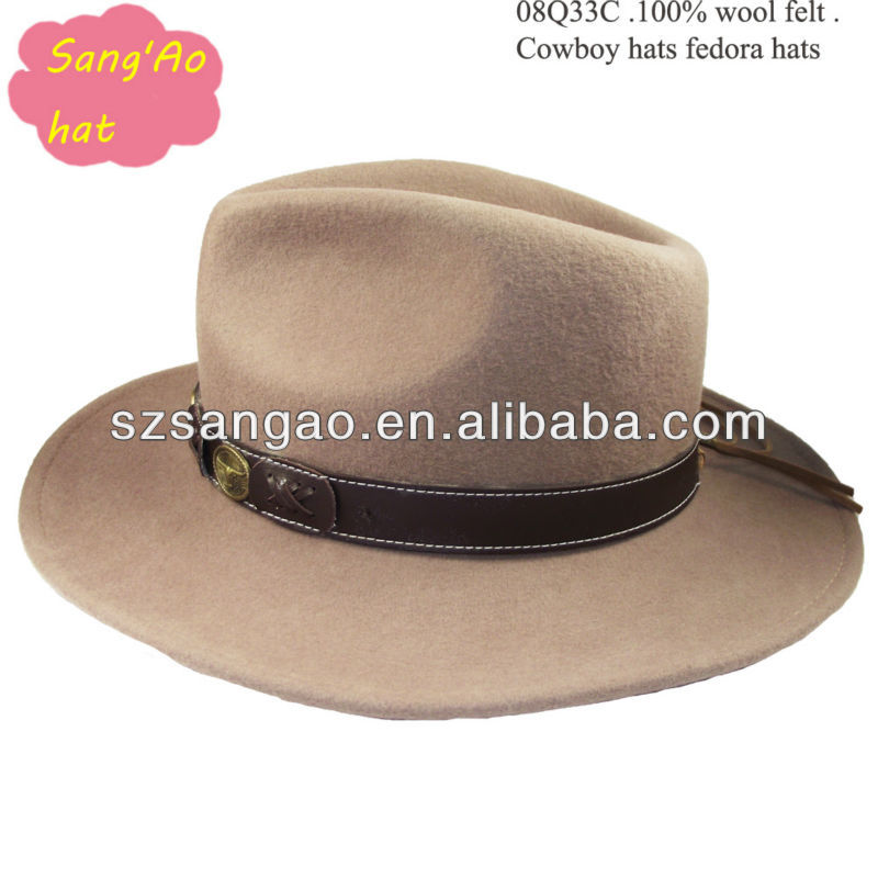 wholesale camel new crushable ladies dress hats for men wool felt formal hat as metal in leather belt 100%wool print logo