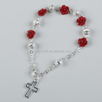 Fashion alloy beads flower baceletwith cross