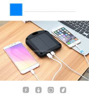 Portable 6000mAh Dual USB Solar Battery Charger Power Bank Phone Charger with Carabiner LED Light