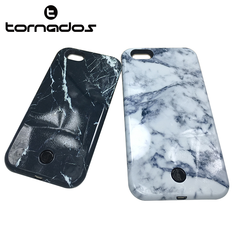 Phone accessories led marble mobile phone selfie case for iphone 7