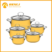 Discount price of cast iron enamel non-stick cookware set with glass lids in overstock
