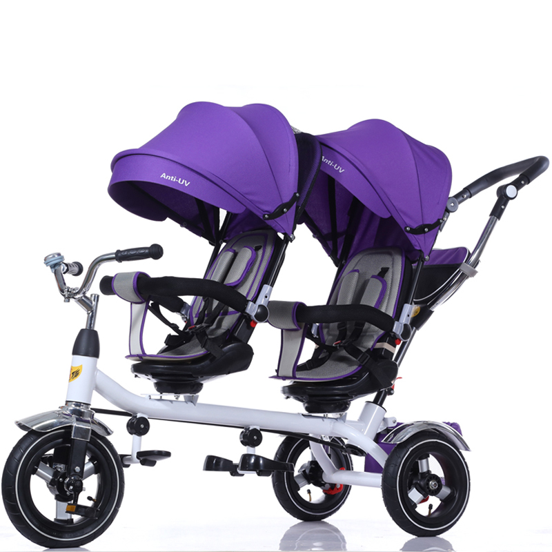 2018 kids double seat baby tricycle / children tricycle two seat for twins with high quality