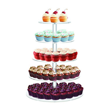 Party Birthday Bakery Cake Tower Display 5 Tiers Acrylic Cupcake Stand For Wedding