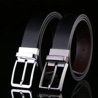 Designer reversible zinc alloy pin buckle belt /smooth black belts genuine leather men wholesale