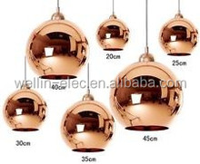 Cooper Glass Pendant lamp Mirror Ball Lamp/Modern Cone Glass Pendant Light