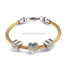 New Women Cable Bangles Gold 316l Stainless Steel Twisted Chain Bracelet Charming Heart Jewelry