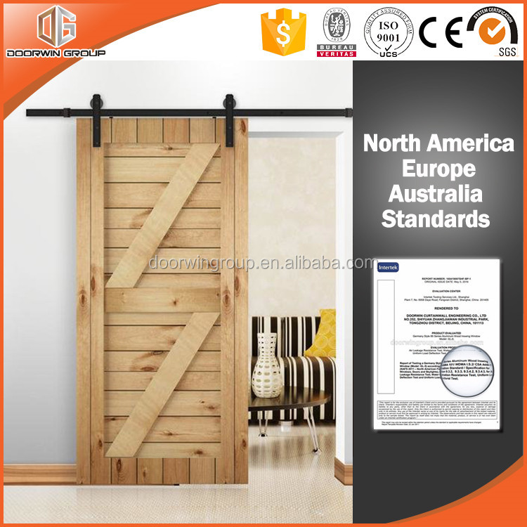 100% American Imported Red Oak Wood Barn Sliding Door With Lifting Wheel