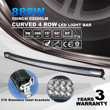 "Overseas Warehouse 888w 50"" 12v 4x4 Offroad Led Curved Light Bar"