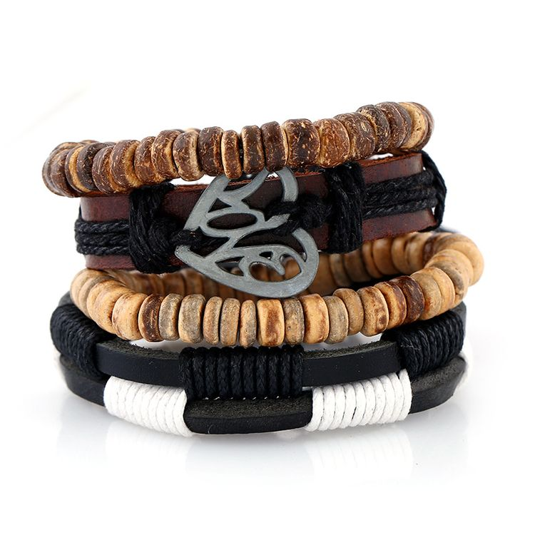 2018 New Arrival 3 Pieces A Set Personalized Wood Beaded Hemp Bracelet Custom Braided Woven Leather Skull Men's Bracelet