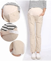 Wholesale Big Size Stretch Adjustable High Waist Straight Cut Pregnant Pants Maternity Uniform Pants