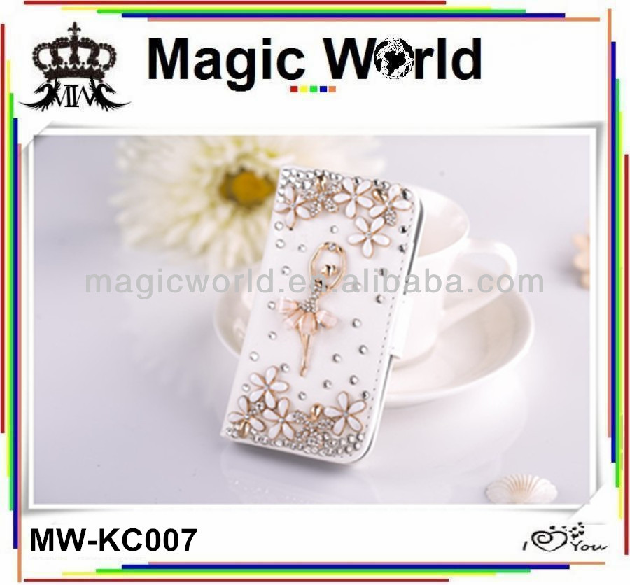 Ballet dancing girl leather mobile phone case for iphone 4