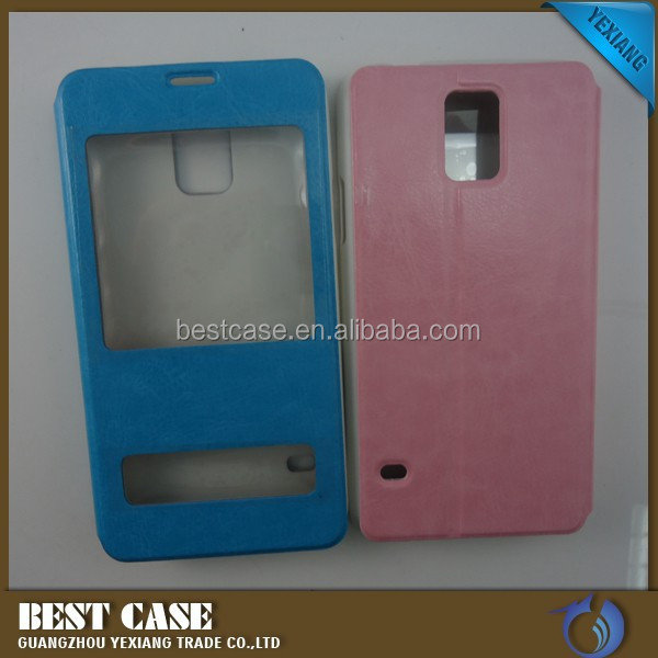 Window Crystal PC Leather flip cell phone Case For samsung Galaxy S5 i9600