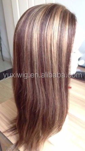 2016 Remy Full Lace Wig PU Thin Skin Human Hair Brown Blonde Mix #8+#27
