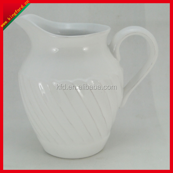 Wholesale White Embossed ceramic pitcher