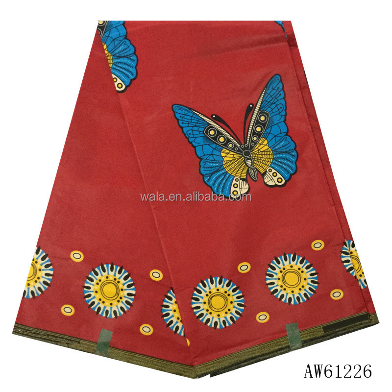 AW61226 (27) Newest fashion design wholesale nigeria red wax <strong>fabric</strong> with Butterfly pattern