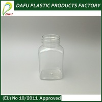Wholesale eco-friendly rectangle 120ml medical small clear plastic bottle