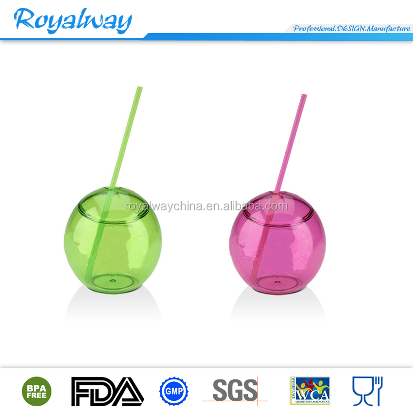 Clear drinkware plastic cup with lid and straw ball straw cup