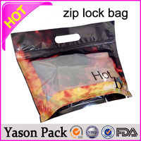 Yason ldpe&hdpe plastic bag shinning black red ziplock tear notches pouches small ziplock bags for household packaging