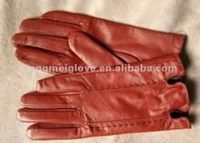 HM624 fashion women ladies leather glove with bordeaux color