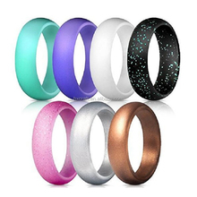 7pcs/set Amazon hot sell FBA service Silicone Wedding Ring,Wedding Band for Women Flexible Comfort Sport Love Ring