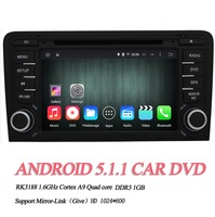 "7"" Quad core 2DIN Android 5.1.1 car multimedia system For Audi S3 2003 - 2011 HD 1024*600 Touch Screen Bluetooth WIFI / 3G OBDII"