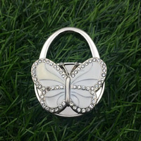 Hot sale enamel butterfly shape metal purse hook for promotional