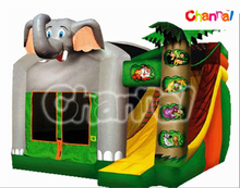 Happy Funny Elephant Inflatable Bouncer with Slide Combo for Kids