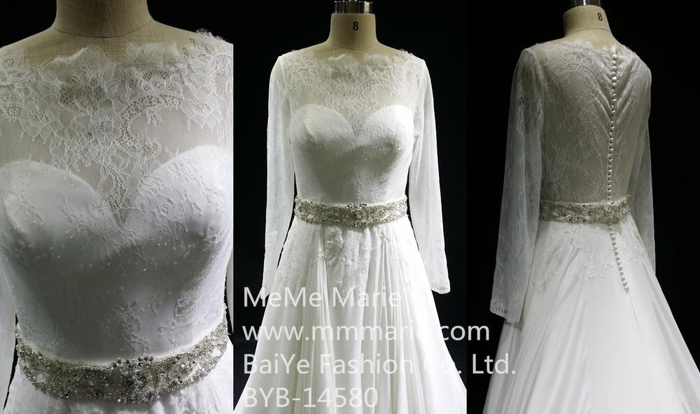 Alibab factory direct illusion long sleeve muslim wedding for Wedding dress beading patterns