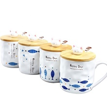 YiJia 350ml fish and cat shaped cup ceramic milk coffee mug with lid and spoon