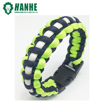 Fashion Fluorescence 550 Paracord Bracelet with Plastic buckle for Outdoor Survival Activity