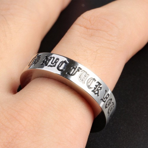 Men Silver Plated Ring Sample Spikes Stainless Steel Blanks Cross Sanskrit Lettering Around Circle Gift Party Ring