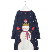 XZ Snowman dot autumn <strong>girl's</strong> cotton <strong>dress</strong> Long-sleeved princess skirt in autumn girls' <strong>dress</strong>