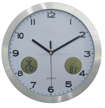 Multifunctional aluminum wall clock with thermometer and hygrometer
