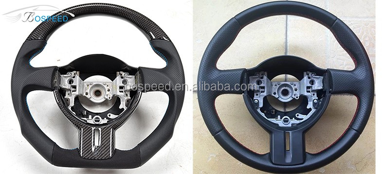 For Ford Mustang 15-17 GT Shelby Red Ring Thick Flat Carbon fiber Steering Wheel