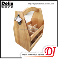 Wooden Beer Carrier 6 Six Pack Bottle Caddy Tote Holder with Attached Bottle Opener