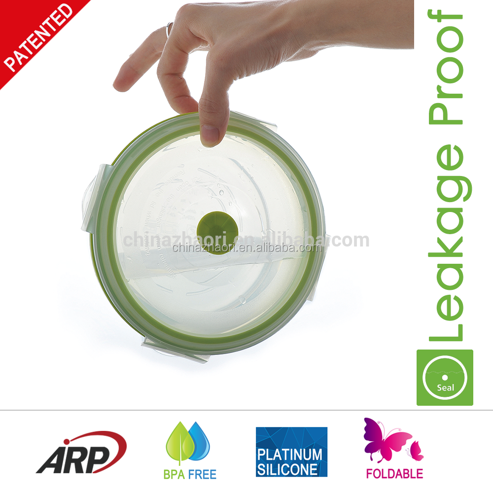 2016 Airtight and leakage proof Collapsible PP Lid and Silicone Food Container