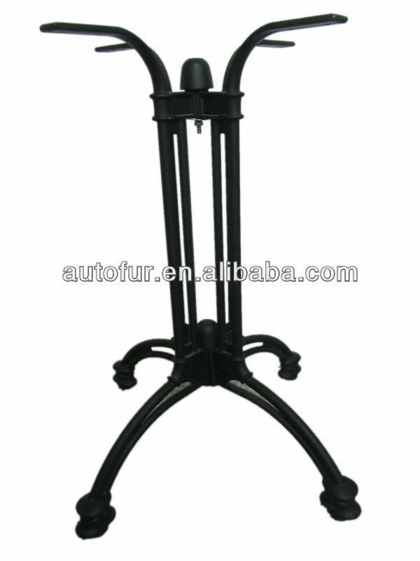 Durable black cast iron dining table base wrought iron for Wrought iron table legs bases