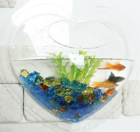 Heart-shaped acrylic aquarium Mini fish tank Wall hanging aquarium Creative aquarium D24xH7.5 CM