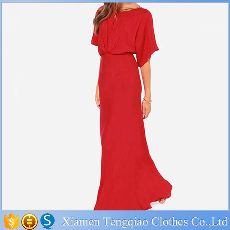 New Stylish Women Lady Fashion Evening Party Grown Cap Sleeve Chiffon Pleated Sexy Long Red Dress Maxi
