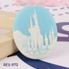Blue Fairy Tale Castle Flat Back Resins Cabochon Cameo