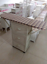 New arrival wooden ironing board solid wood ironing storage cabinet with wheels