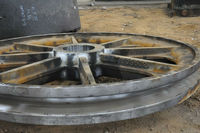 Large steel cable pulley