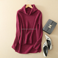 Winter turtleneck women cable knitting front short back long 100% cashmere christmas pullover sweater