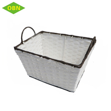 New product 2018 handmade paper rope material toy storage use white handle storage basket