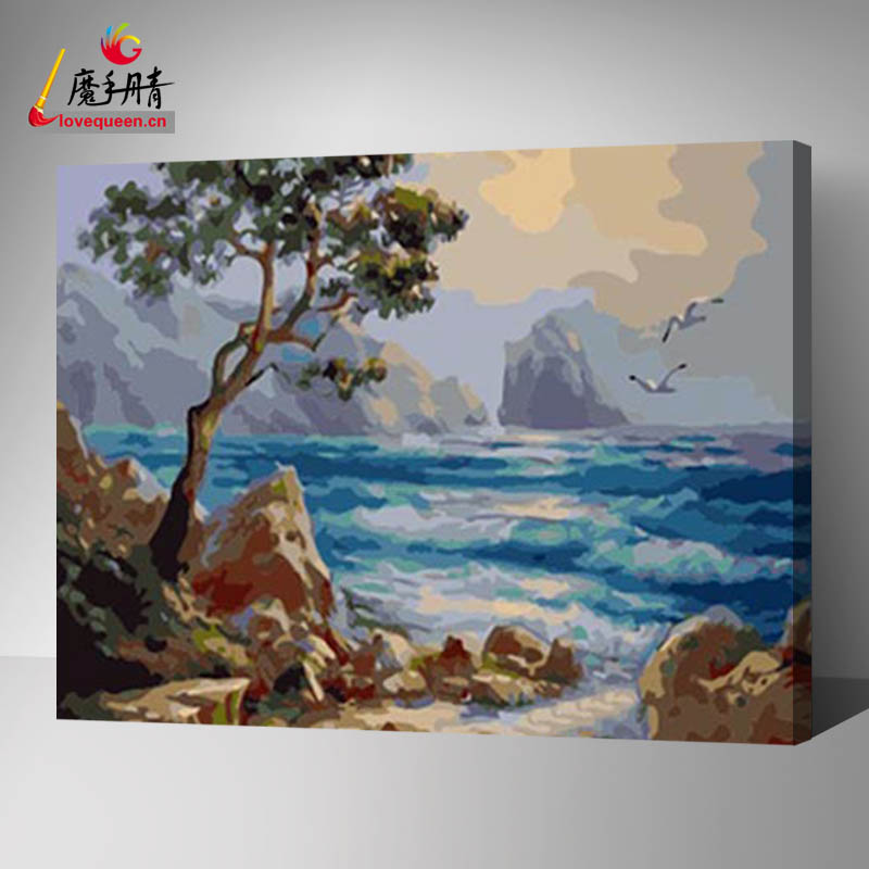Factory supply new design home goods wall art canvas for seascape photo diy painting by numbers with acrylic in china yiwu